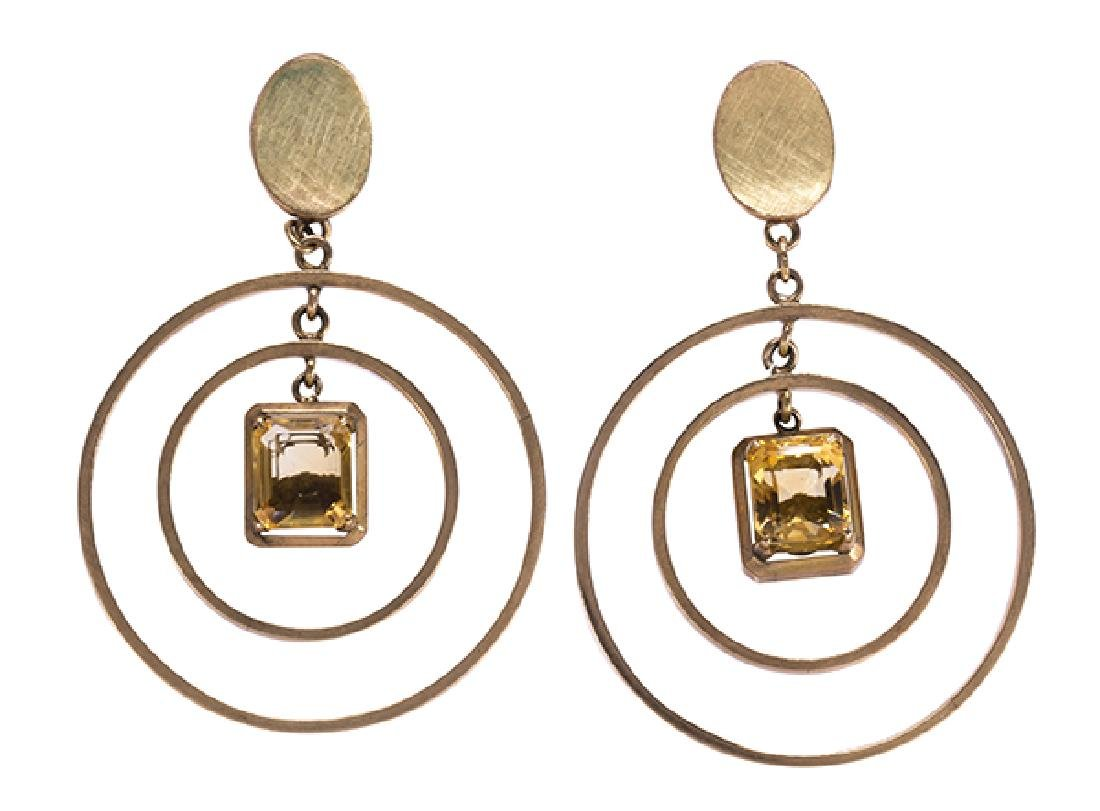 Pair of citrine and 14k yellow gold earrings