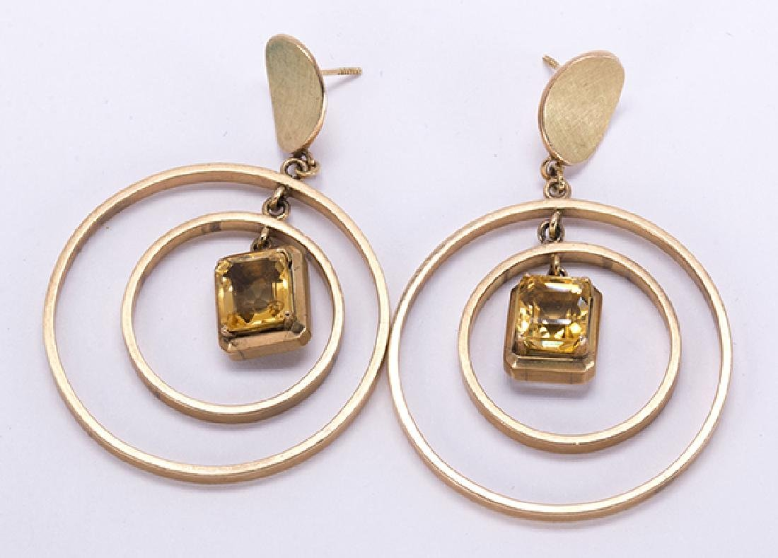 Pair of citrine and 14k yellow gold earrings - 2