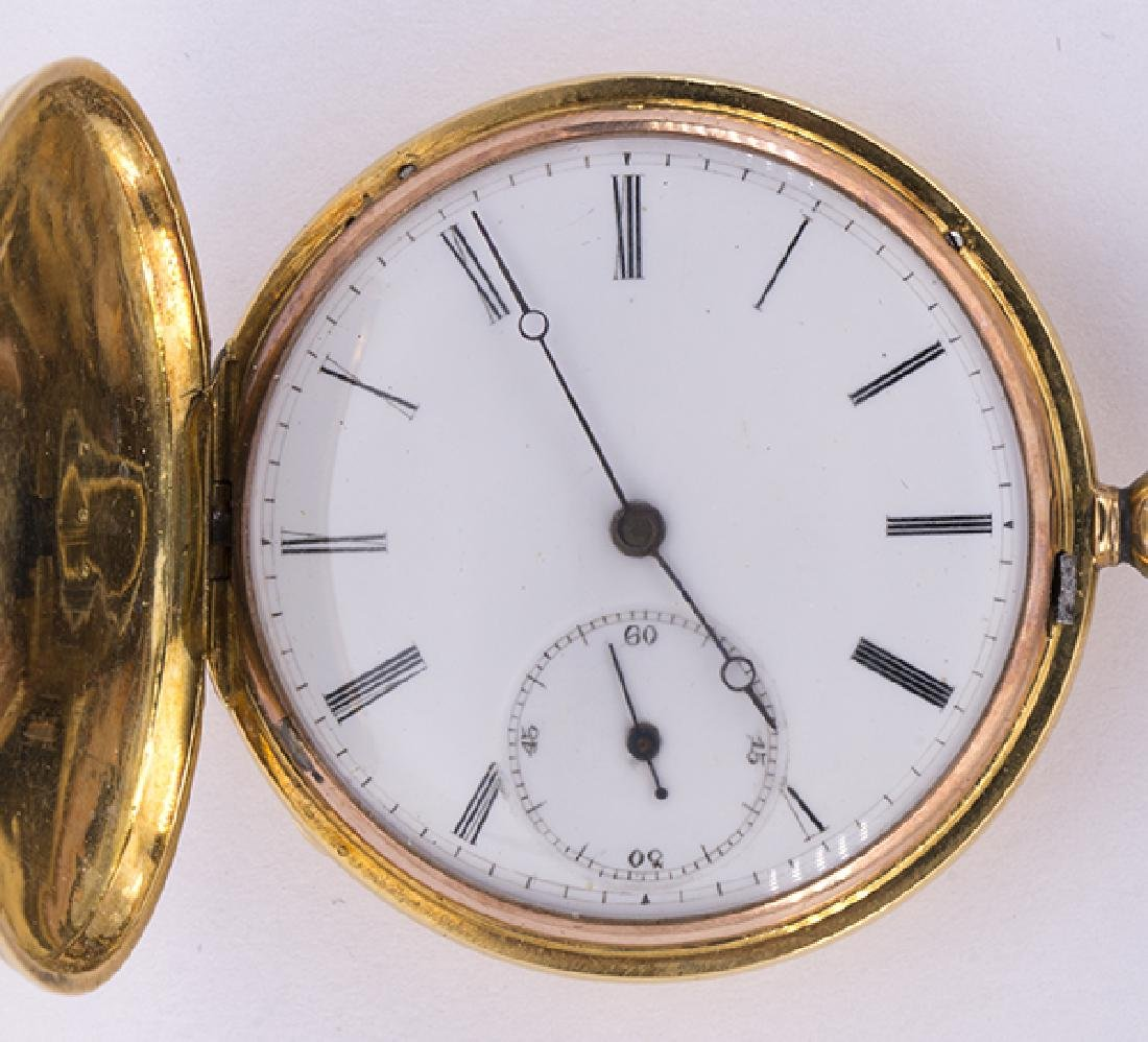 Enamel and 14k yellow gold hunting case pocket watch - 3