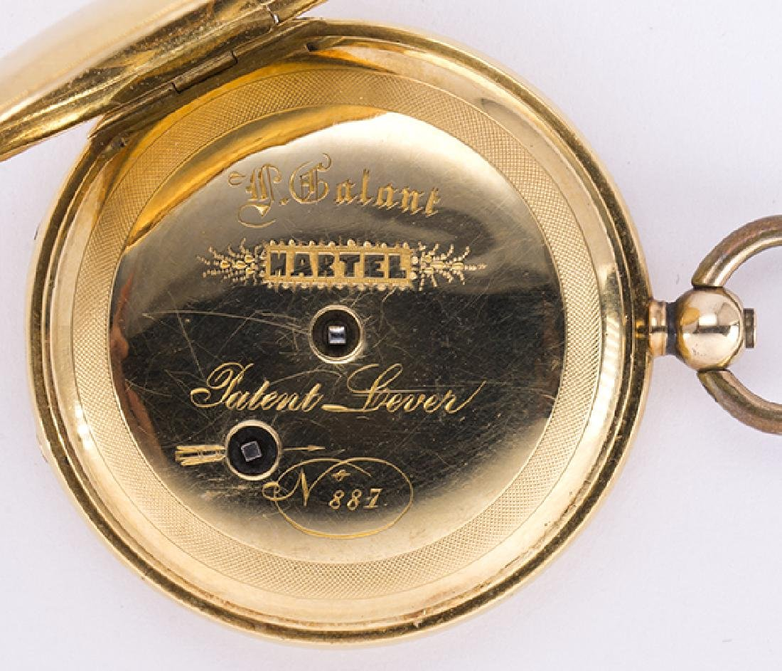 Enamel and 14k yellow gold hunting case pocket watch - 5