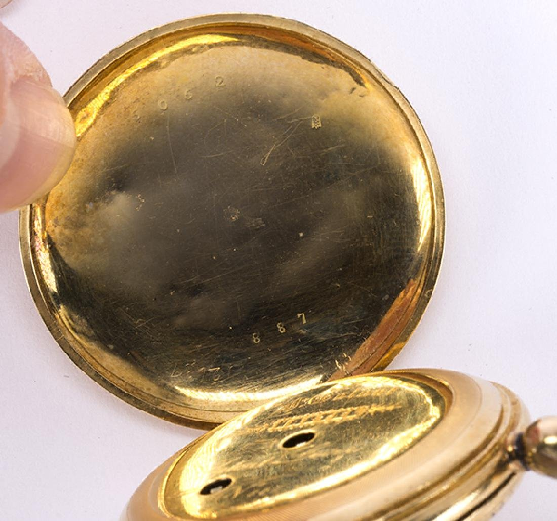 Enamel and 14k yellow gold hunting case pocket watch - 6