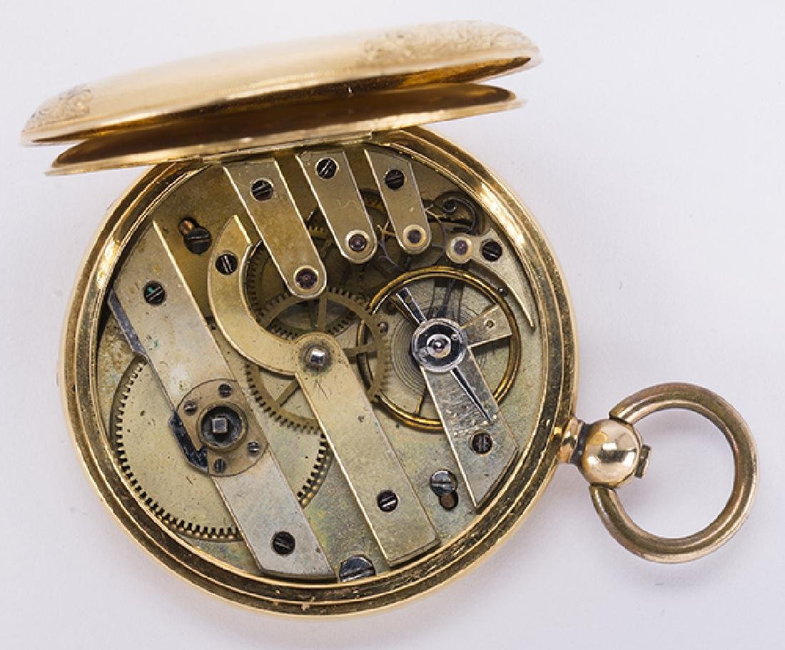 Enamel and 14k yellow gold hunting case pocket watch - 8