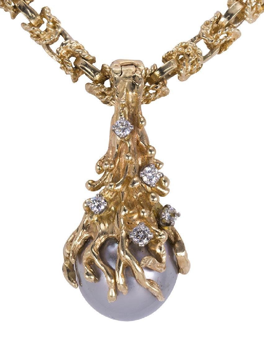 Cultured pearl, diamond and yellow gold