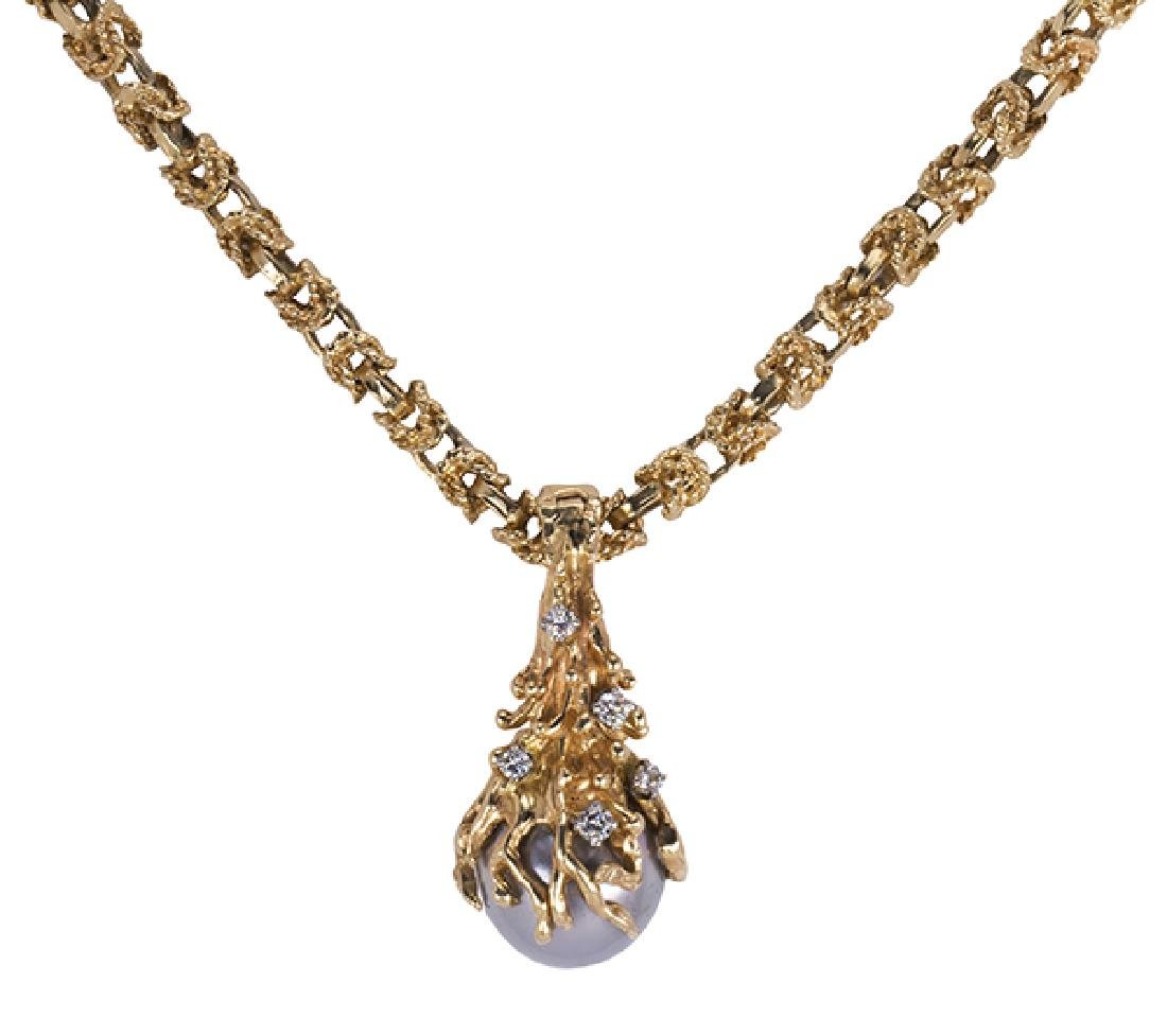 Cultured pearl, diamond and yellow gold - 2