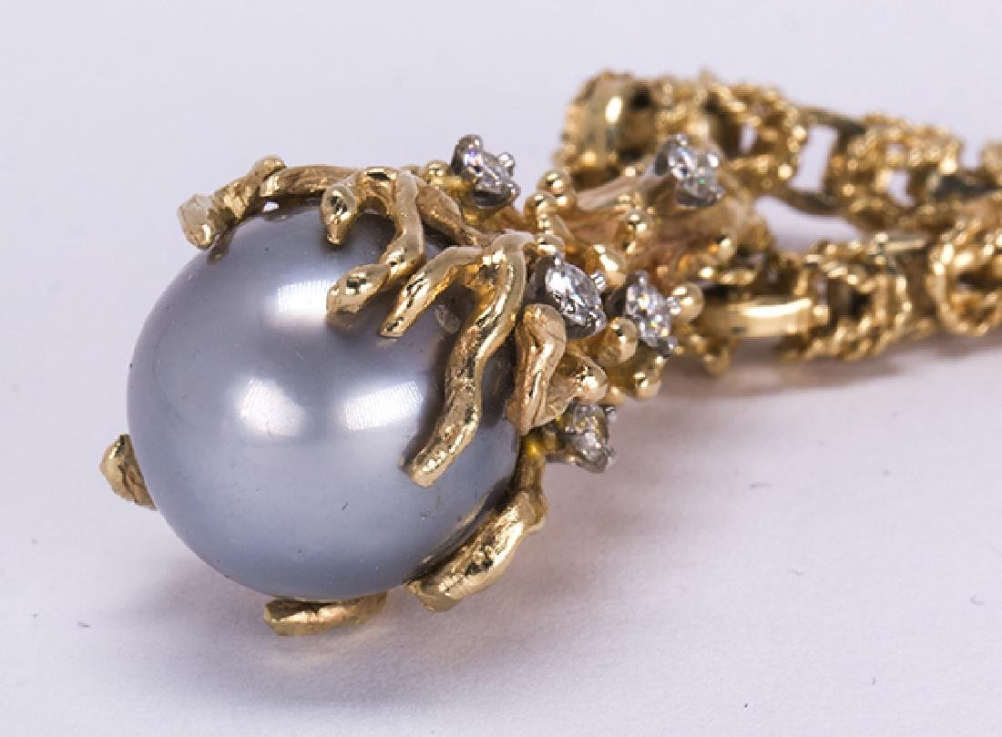 Cultured pearl, diamond and yellow gold - 5