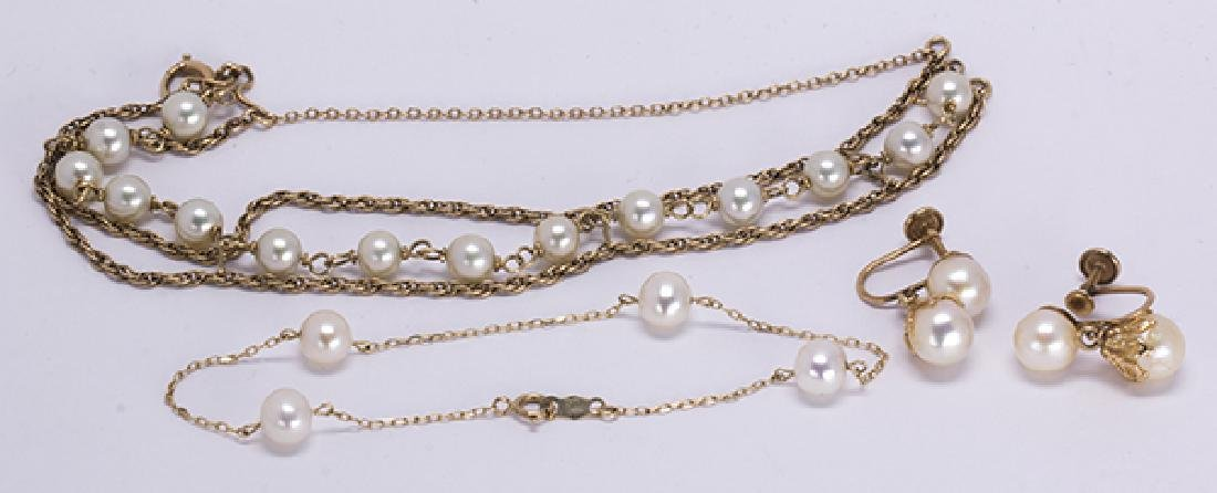(Lot of 5) Cultured pearl and yellow gold jewelry - 2