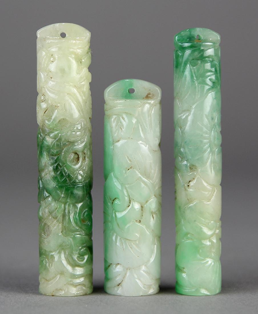 (lot of 3) Chinese Jadeite Plume Holders - 3