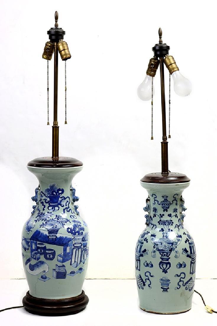 Chinese Underglaze Blue Celadon Porcelain Vases/Lamps