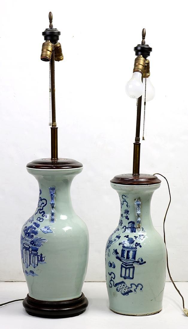 Chinese Underglaze Blue Celadon Porcelain Vases/Lamps - 2