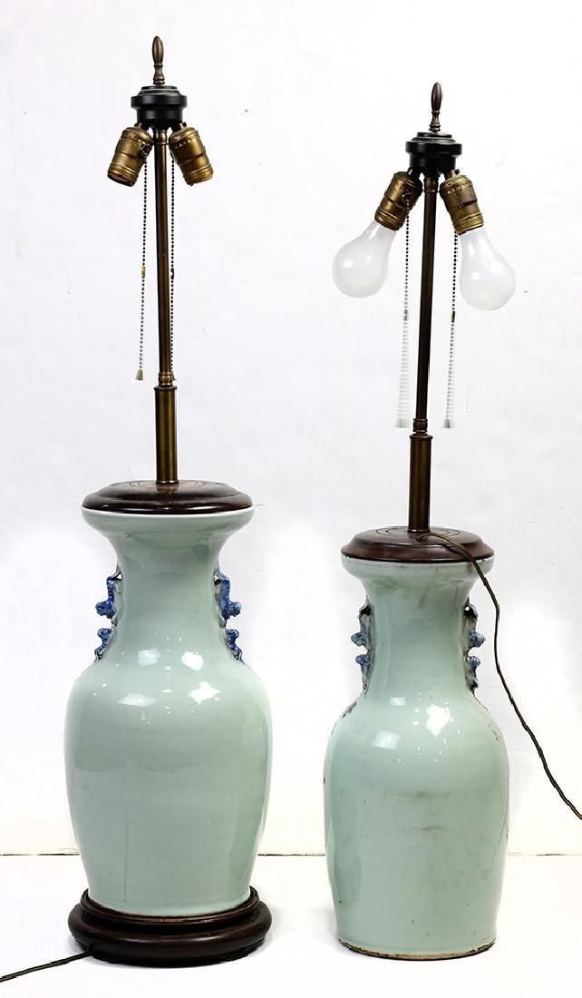 Chinese Underglaze Blue Celadon Porcelain Vases/Lamps - 3
