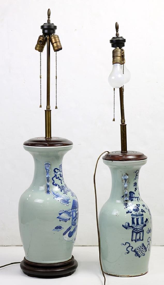 Chinese Underglaze Blue Celadon Porcelain Vases/Lamps - 4