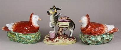 (Lot of 3) English majolica figural group