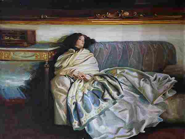 Painting, Reclining Woman in Gown