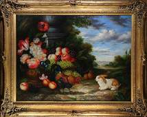 Painting, Still Life with Rabbit and Flowers