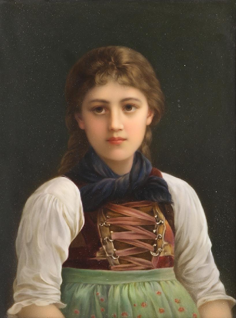Framed KPM porcelain plaque, depicting a German girl in