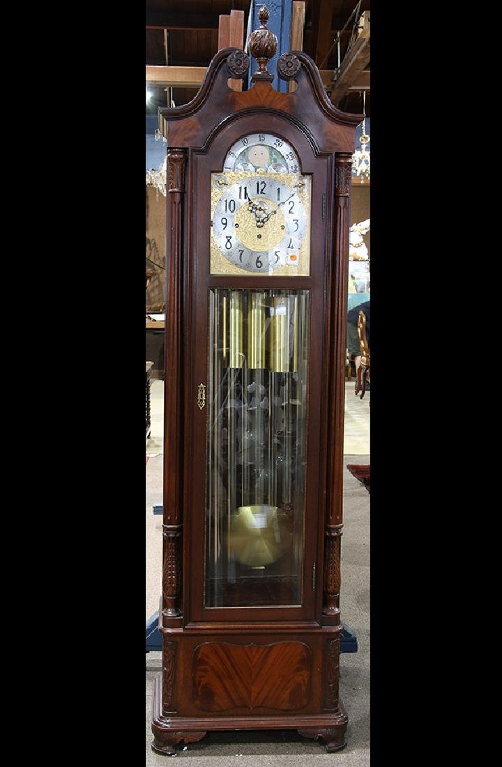 Herschede carved mahogany 9-tube tall case clock, the