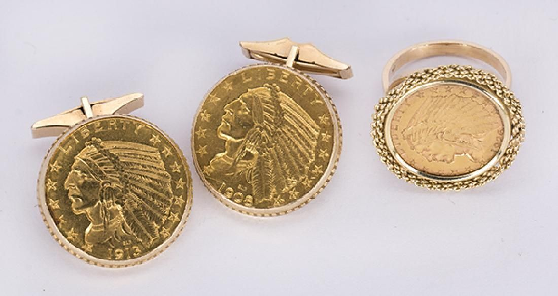 (Lot of 2) Gold coin and 14k yellow gold jewelry