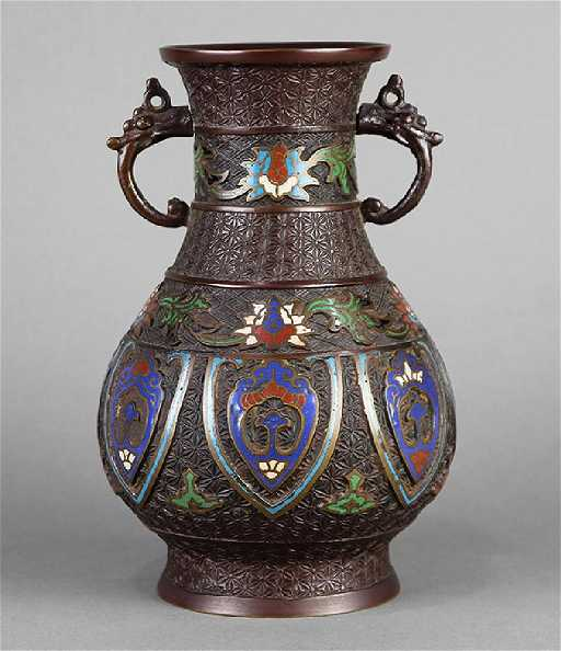 Japanese Bronze Champleve Vase Meiji
