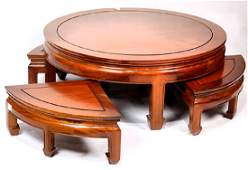 Chinese Wooden Low Table and Stools