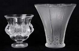 (lot of 2) Lalique France crystal vase group,