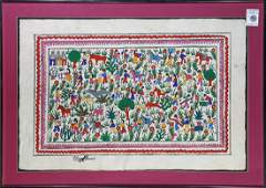"""Watercolor, """"Mexican Bark Painting (Villagers and"""