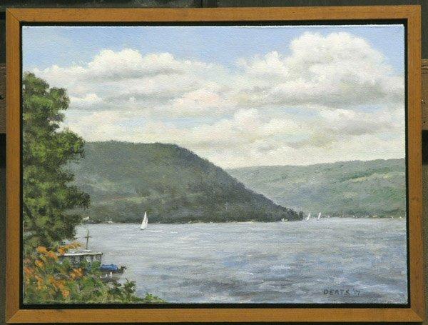 4005: Oil on Canvas Lake Scene Deats