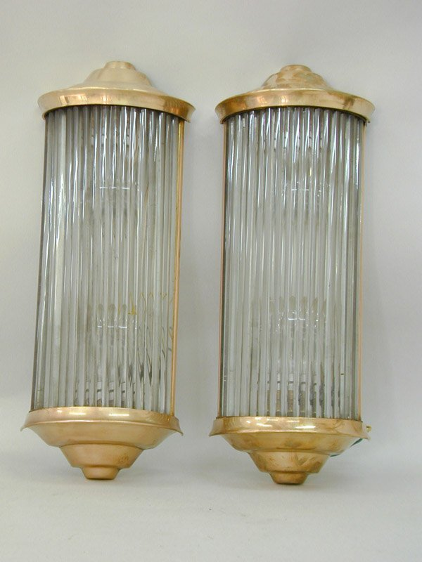 4008: Art Deco Bronze Glass Sconces