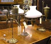 4124: 3 Victorian brass Student lamps