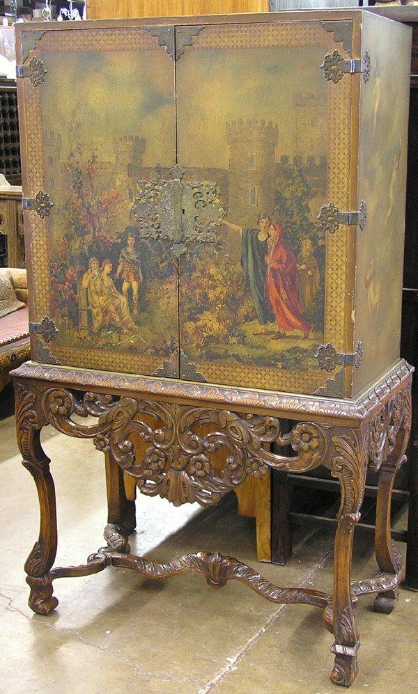 4199: Continental Decorated Walnut Cabinet