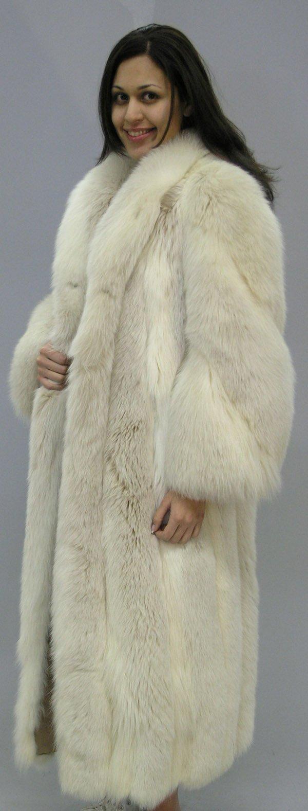 4290: Full length silver fox coat
