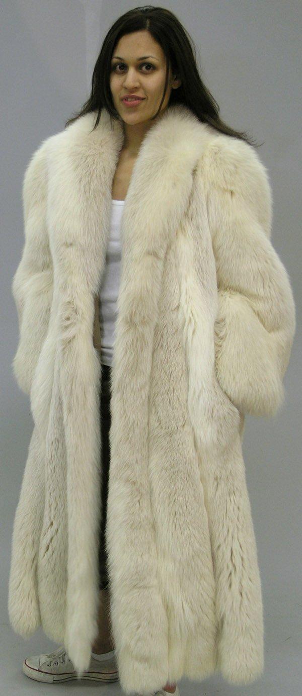 4290: Full length silver fox coat - 2