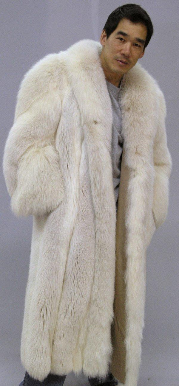 4290: Full length silver fox coat - 4