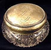 4581 Sterling silver cut glass dresser jar