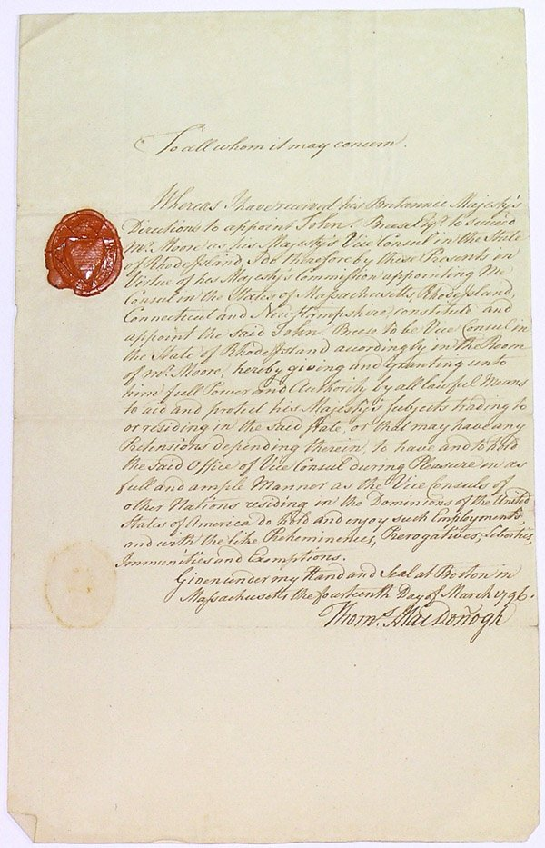 6010: 1796 Rhode Island Consul appointment