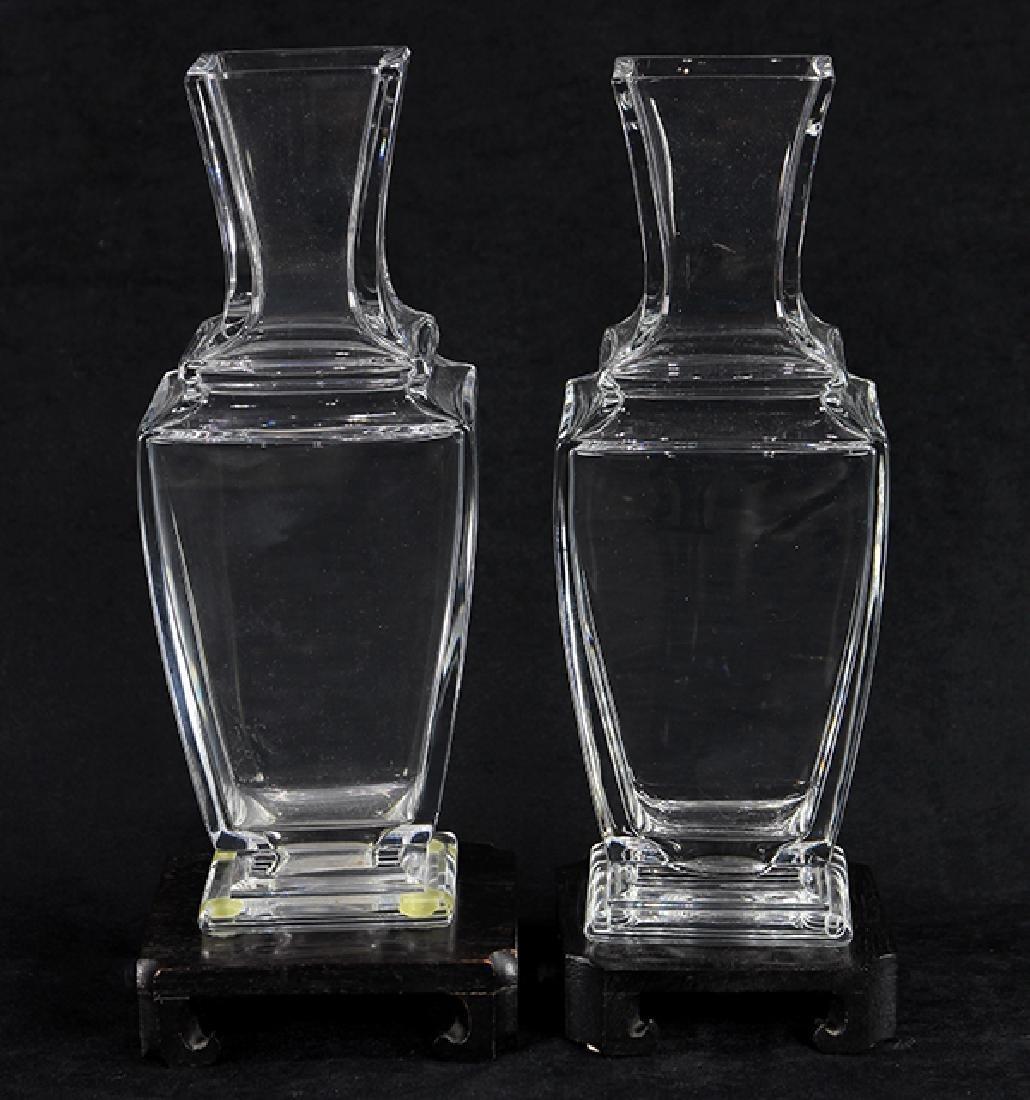 Pair of Baccarat crystal shouldered vases, each having