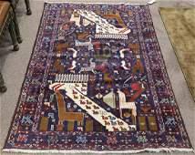 "Persian Balouch carpet, depicting animals, 8'6"" x 4'1"""