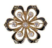 Victorian Diamond enamel and 14k yellow gold
