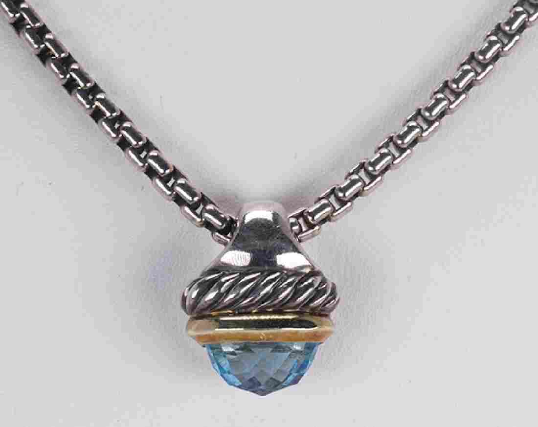 David Yurman blue topaz, sterling silver and 14k yellow