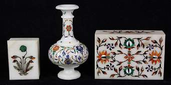 lot of 3 Indian Pietra Dura table articles