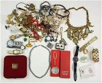 Collection of metal wristwatches and costume jewelry