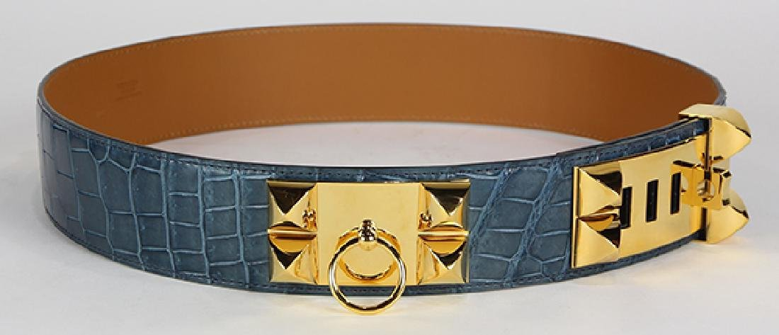 Hermes Collier de Chien crocodile leather belt