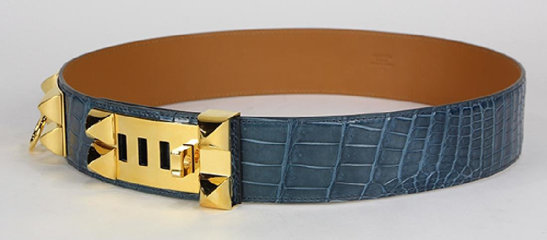 Hermes Collier de Chien crocodile leather belt - 2