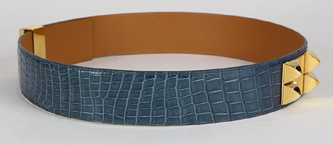 Hermes Collier de Chien crocodile leather belt - 3