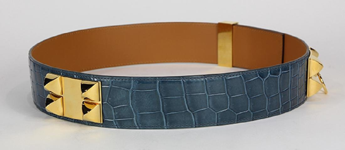 Hermes Collier de Chien crocodile leather belt - 4