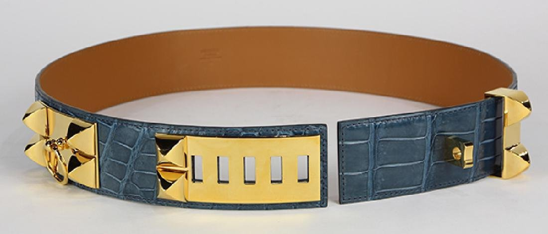 Hermes Collier de Chien crocodile leather belt - 5