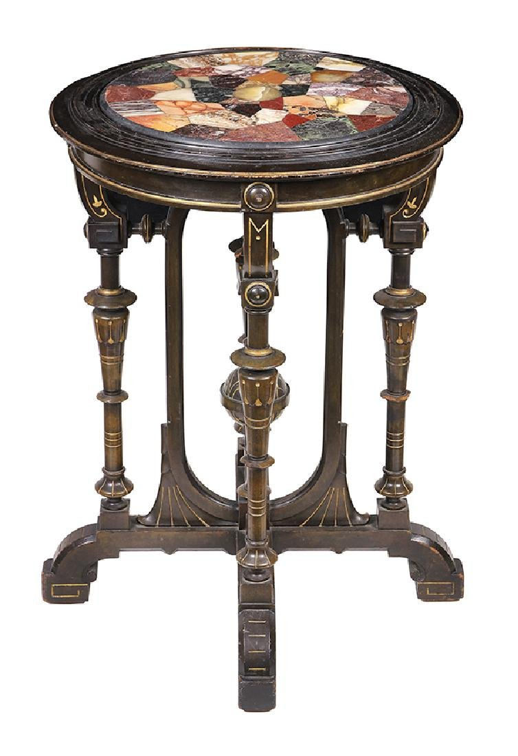 Victorian partial gilt and ebonized occasional table