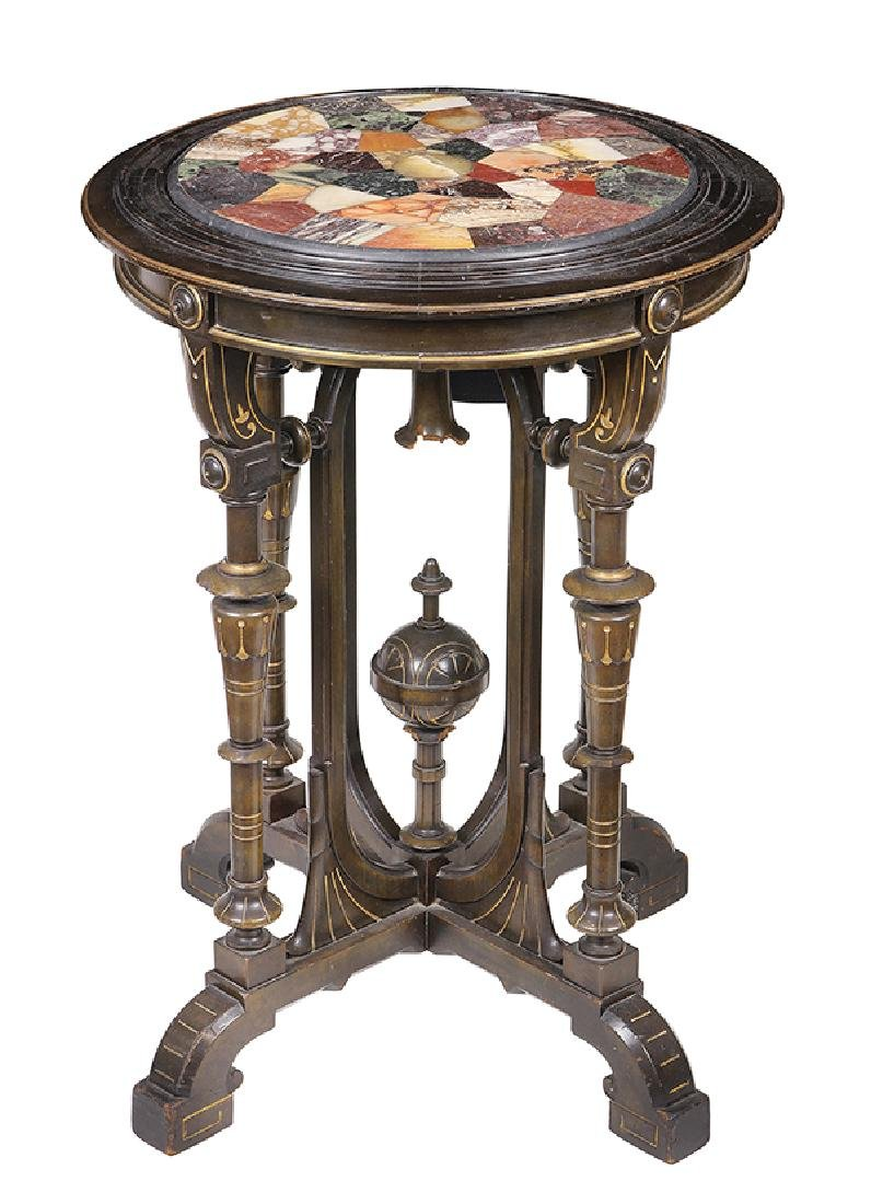 Victorian partial gilt and ebonized occasional table - 4