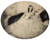Print, Louis Icart, Black Fan