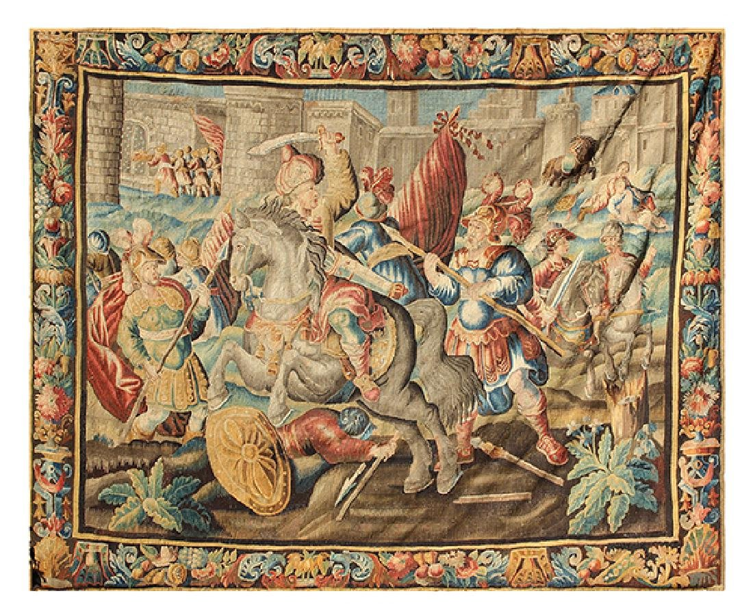 Flemish tapestry 17th century, depicting the Alexander