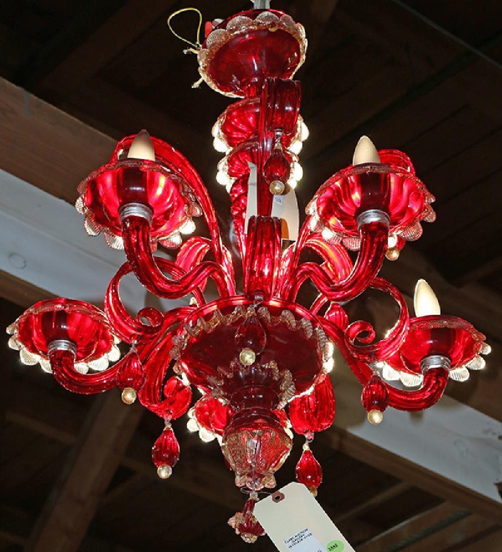 Pair of Venetian Murano chandeliers, executed in - 2